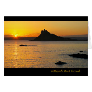 Sts Michael montering på solnedgången Hälsningskort