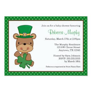 Sts Patrick baby shower för klöver för dagbjörn 12,7 X 17,8 Cm Inbjudningskort