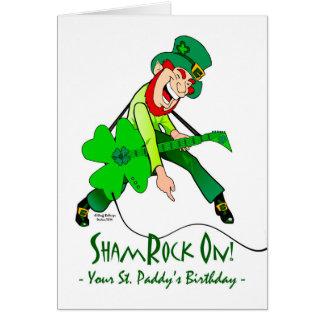 Sts Patrick dagfödelsedag, rockstjärna, ShamRock Hälsningskort