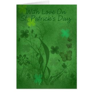 Sts Patrick dagkort med blommor och shamrocken, Hälsningskort