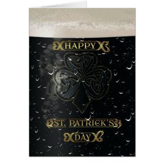 Sts Patrick dagkort med en halv liter av irländsk Hälsningskort