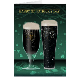Sts Patrick dagkort två halva liter av irländsk öl Hälsningskort