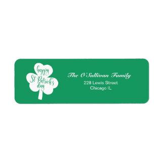 Sts Patrick för grönt & för vit lycklig Shamrock Returadress Etikett