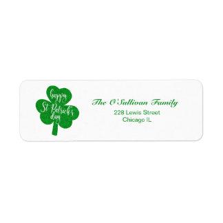 Sts Patrick för grönt glitter lycklig Shamrock för Returadress Etikett