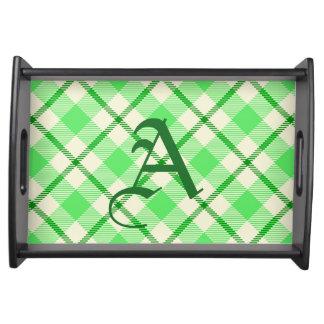 Sts Patrick för Tartanplädgrönt dag Serveringsbricka