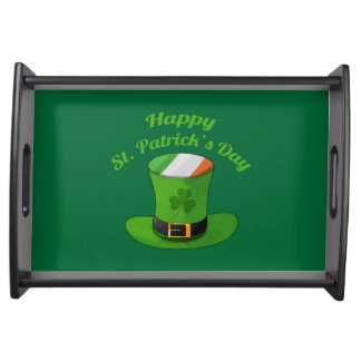 Sts Patrick hatt för dagtroll & Shamrockklöver Frukostbricka