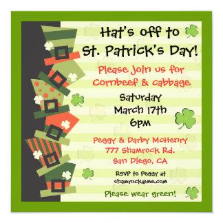 Sts Patrick inbjudan för hatt för dagparty