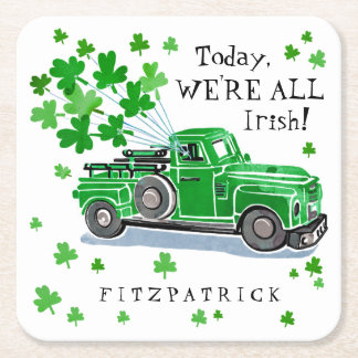 Sts Patrick lastbilen för vintage för daggrönt Underlägg Papper Kvadrat