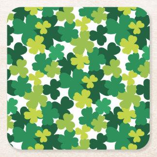 Sts Patrick mönster för dagShamrock Underlägg Papper Kvadrat