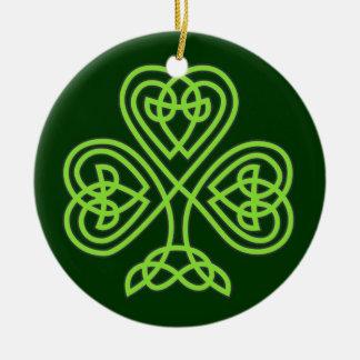 Sts Patrick prydnad för klöver för dagShamrock Julgransprydnad Keramik
