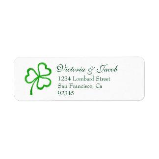 Sts Patrick Shamrock för grönt för bröllop för dag Returadress Etikett