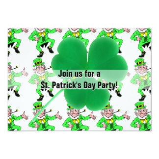 Sts Patrick Shamrock för leprechauns för dagparty 12,7 X 17,8 Cm Inbjudningskort