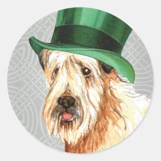 Sts Patrick Wheaten Terrier för dag Runt Klistermärke