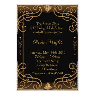 Studentbalnattsvart & guld 12,7 x 17,8 cm inbjudningskort