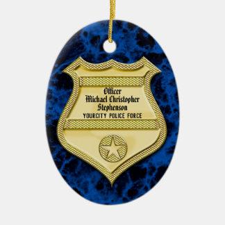 Studenten för emblemmarmorpolis/pensionparty julgransprydnad keramik