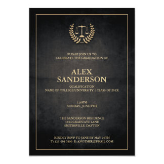 Studenten för för juridisk fakultetlagrarkran & 12,7 x 17,8 cm inbjudningskort