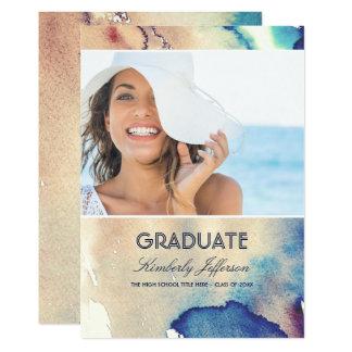 Studenten för vintagevattenfärgfoto 12,7 x 17,8 cm inbjudningskort