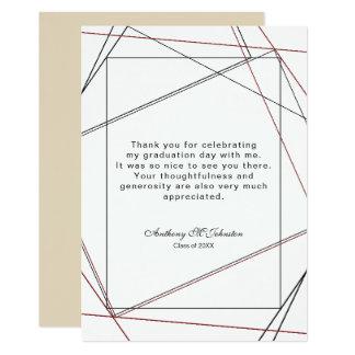 Studenten tackar dig den geometriska designen 12,7 x 17,8 cm inbjudningskort