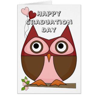 Studentendag - Folksy uggla- & hjärtaballonger Hälsningskort