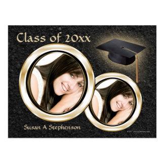 Studentenmeddelandevykort, svart och guld vykort