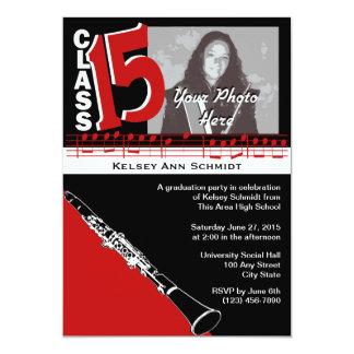 Studentenmusikklarinett 2015 12,7 x 17,8 cm inbjudningskort