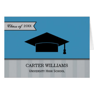 Studententackkortkort | stålsätter blåttgrått OBS kort