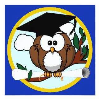 Studentenuggla med locket & diplomet - blått och fyrkantigt 13,3 cm inbjudningskort