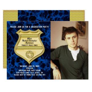 Studentfest för polis för blåttmarmorfoto 12,7 x 17,8 cm inbjudningskort
