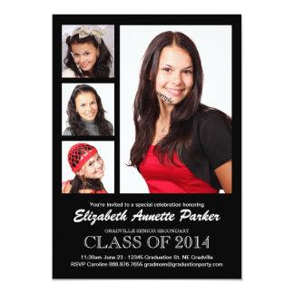 Studentfestmeddelande med fyra foto 12,7 x 17,8 cm inbjudningskort