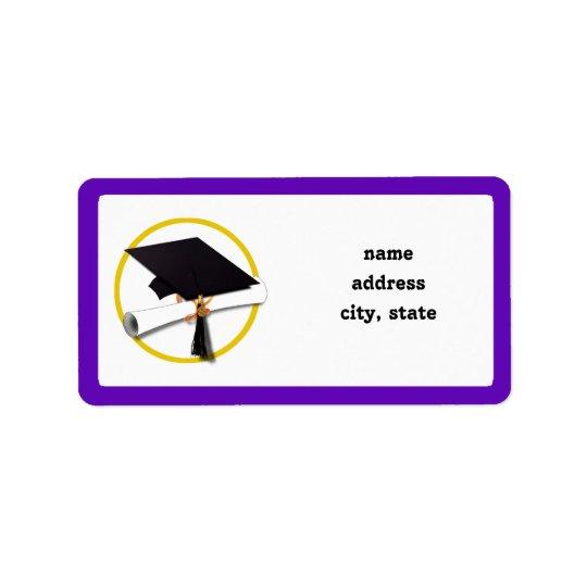 Studentmössa w/Diploma - Purpurfärgad bakgrund Adressetikett