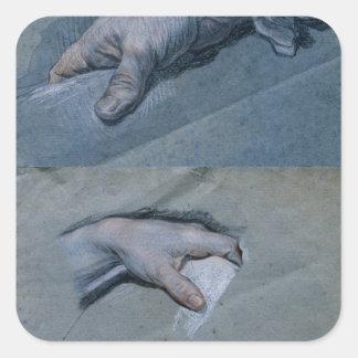 Studie av händer av en man fyrkantigt klistermärke