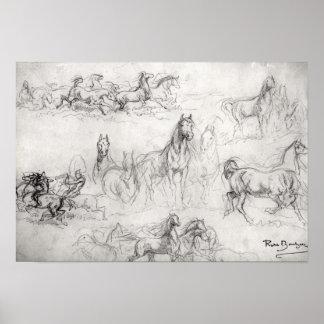 Studie av hästar affischer