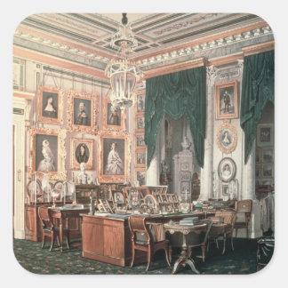 Studien av Alexander III på den Gatchina slotten Fyrkantigt Klistermärke