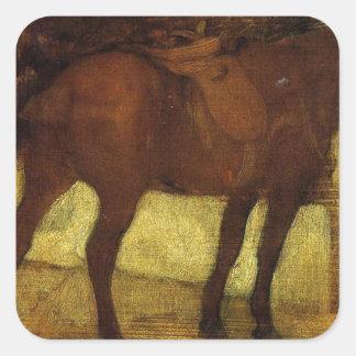 Studien av hästar av Edgar Degas Fyrkantigt Klistermärke