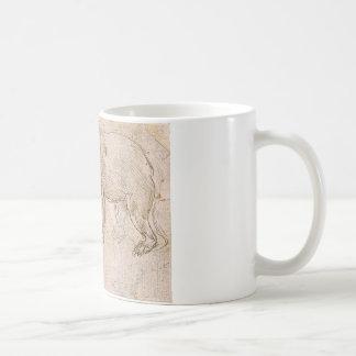 Studier av en BeWalking av Leonardo Da Vinci Kaffemugg