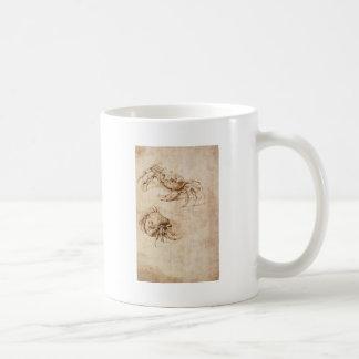 Studier av krabbor av Leonardo Da Vinci Kaffemugg