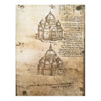 Studier för Leonardo Vinci- av centralen planerar Vykort