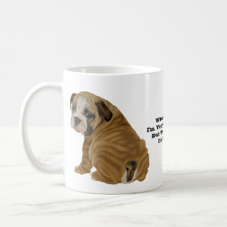 Stygg engelsk bulldoggvalp kaffemugg