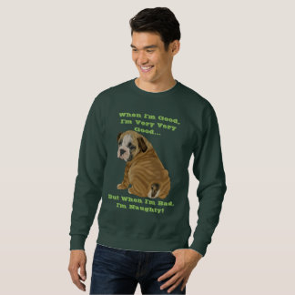 Stygg engelsk bulldoggvalp lång ärmad tröja