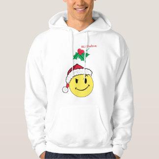 Stygg lycklig ansikte- och MistletoeHoodiedesign Sweatshirt Med Luva