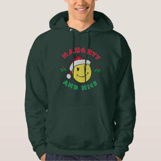 Stygg & trevlig lycklig ansikteHoodie Sweatshirt Med Luva