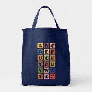 Stygga alfabet hänger lös - välj stil & färga tygkasse