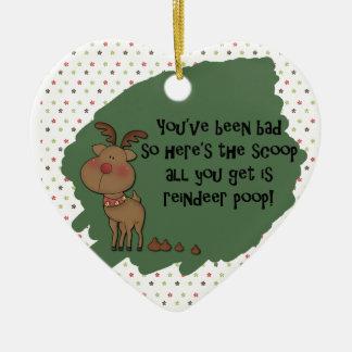 Styggt roligt ordstäv för gåva för julrenPoop Hjärtformad Julgransprydnad I Keramik