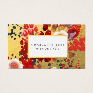 Stylist för konst för guld- vattenfärgabstrakt visitkort