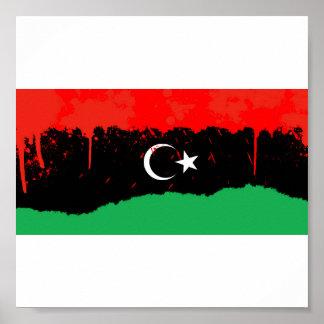 Stylized kungarike av den Libyen flagga Poster