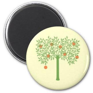 Stylized orange träd magnet rund 5.7 cm
