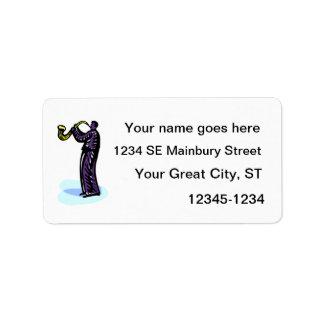Stylized purpurfärgad version för Sax spelare Adressetikett