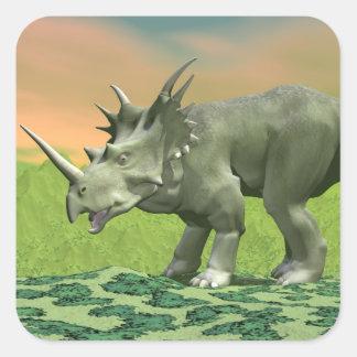 Styracosaurusdinosaur - 3D framför Fyrkantigt Klistermärke