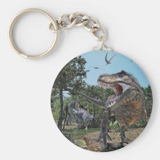 Suchomimus och TyrannosaurusRex konfrontation Rund Nyckelring