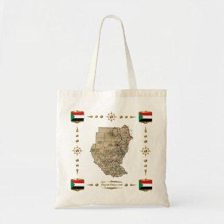 Sudan karta + Flaggor hänger lös Budget Tygkasse